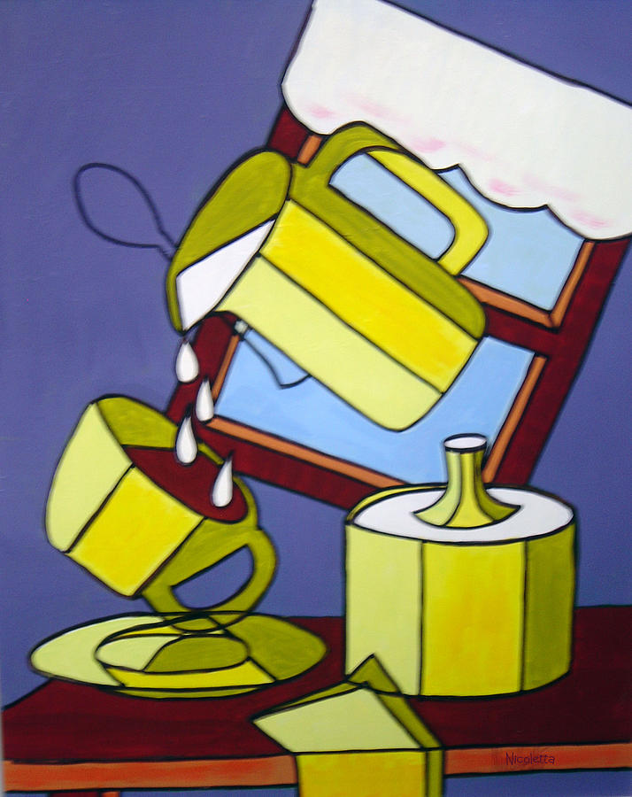 Contemporary Still Life Coffee And Cream Painting by Nicoletta.