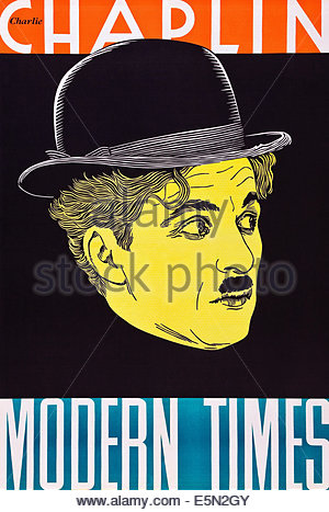 Charlie Chaplin Poster Modern Times (1936 Stock Photo, Royalty.