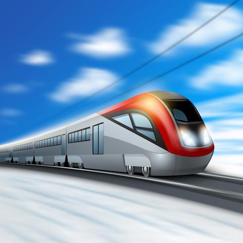 Modern Train In Motion.