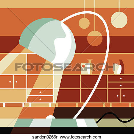 Stock Image of reading lamp, light, counters, interior design.