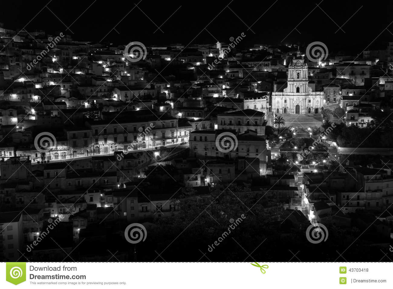 Modica (Sicily) Night View B&w Stock Photo.