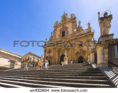 Stock Photo of Italy, Sicily, Modica, Chiesa di San Pietro.