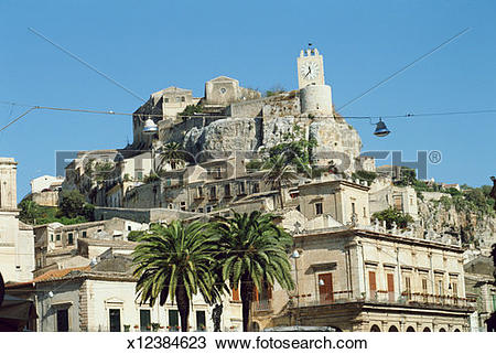 Stock Photo of Italy, Sicily, Modica, clock tower x12384623.