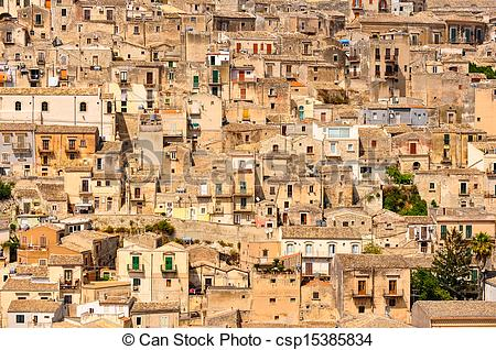 Stock Photos of Detail of beautiful houses in town Modica, Sicily.
