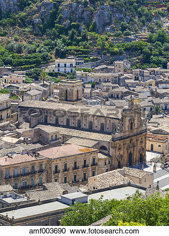 Stock Photography of Italy, Sicily, Modica, cathedral San Pietro.