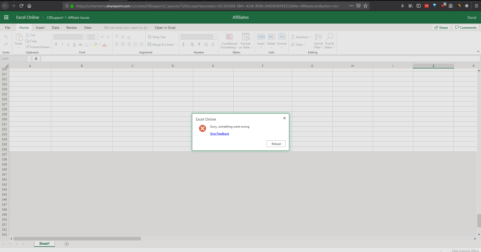 SharePoint Online not responding to modify any file or open.