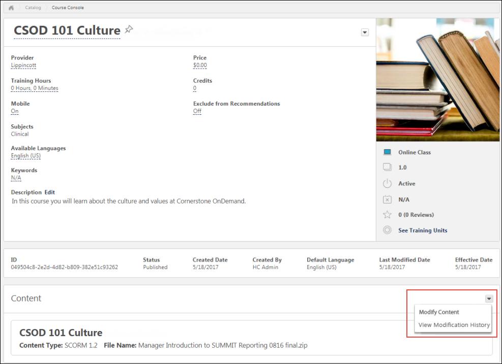 Modify an Online Course.