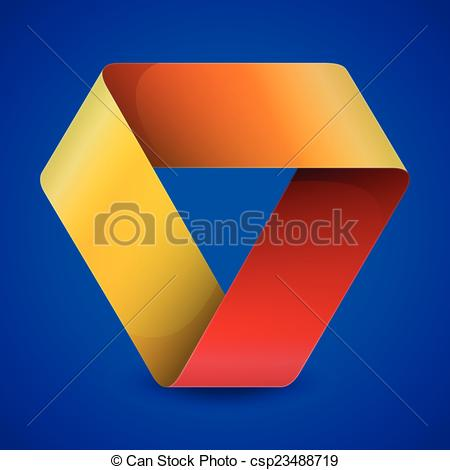 Vector Clip Art of Moebius origami colorful paper triangle on blue.