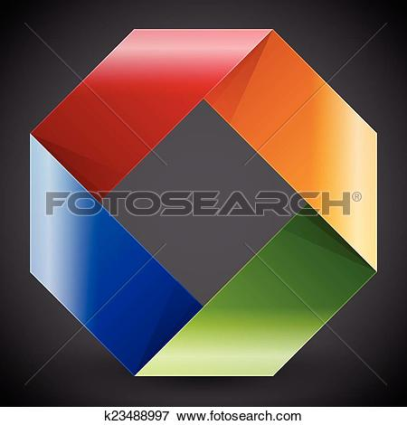 Clip Art of Moebius origami colorful paper rectangle k23488997.