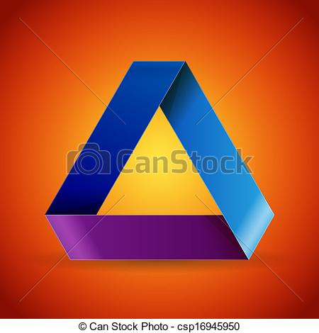 Clipart Vector of Moebius origami colorful paper triangle. RGB EPS.