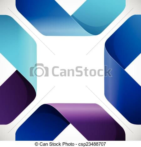 Vector Clipart of Moebius origami colorful paper triangles on.