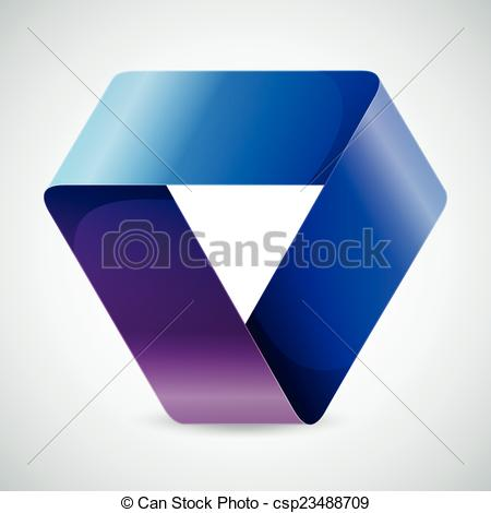 Vector Clipart of Moebius origami colorful paper triangle on white.