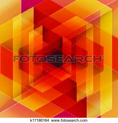 Clipart of Moebius origami red and orange paper triangle k17180164.
