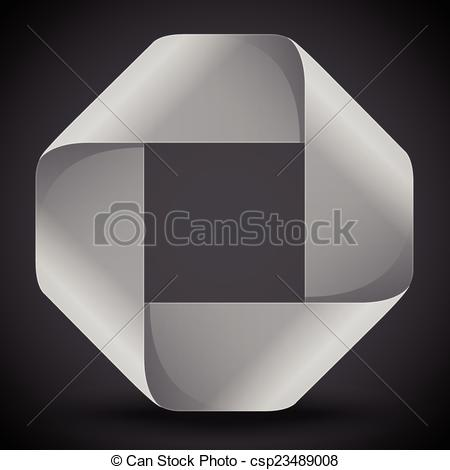 Vector Clipart of Moebius origami gray and white paper rectangle.