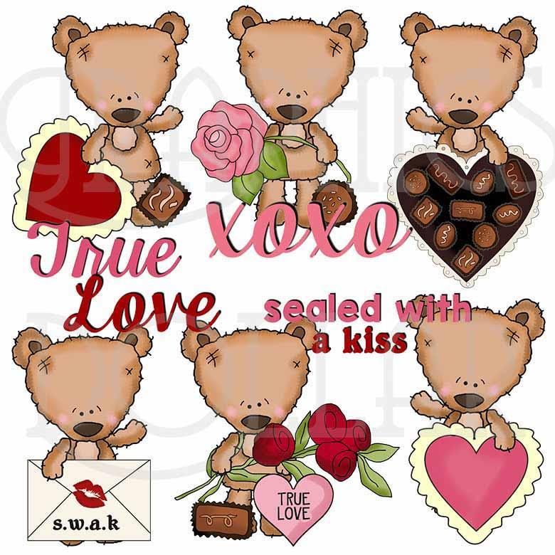 Mohair Bear Valentines Clip Art.