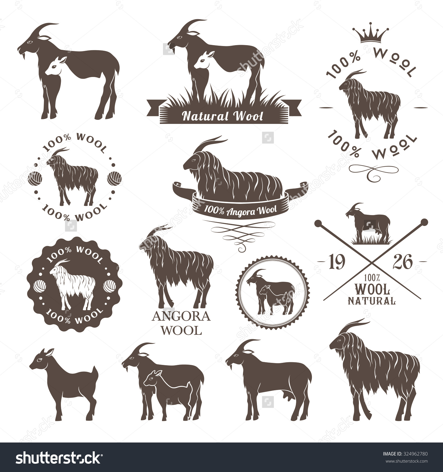 Wool Labels Angora Goat Emblems Collection Stock Vector 324962780.