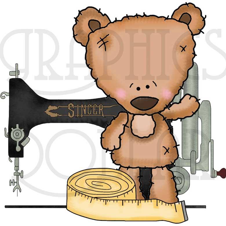 Mohair Bear Sew Happy Clip Art.