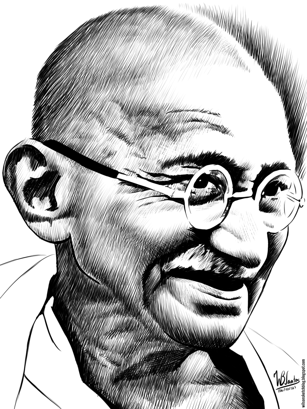 Ink drawing of Mahatma Gandhi.