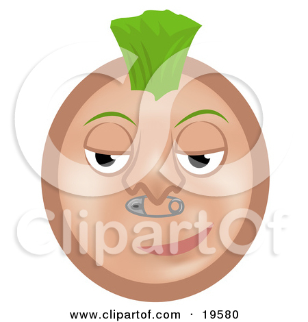 Clipart of a Grayscale Profiled Man's Head with a Spiked Mohawk.