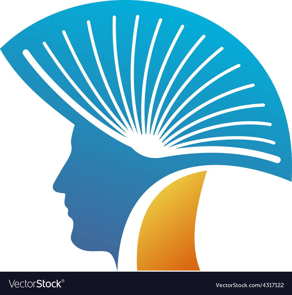 Head of the man with open book as a mohawk logo.