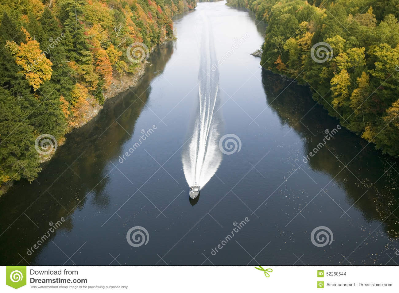 A Boat Navigates The Connecticut River Through Autumn Color On The.