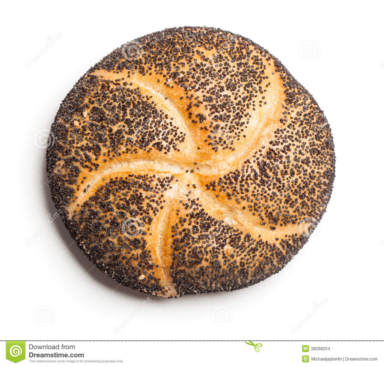Poppy Seed Bread Roll (Mohnbroetchen) Stock Images.