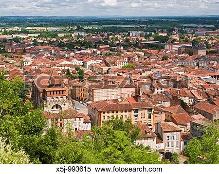 Stock Image of The red rooftops of historic Moissac and Abbey St.