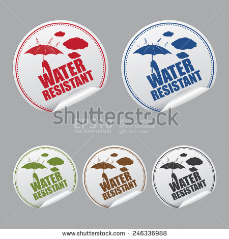 Vector : Silver Water Resistant Sticker, Icon, Badge, Sign Or.