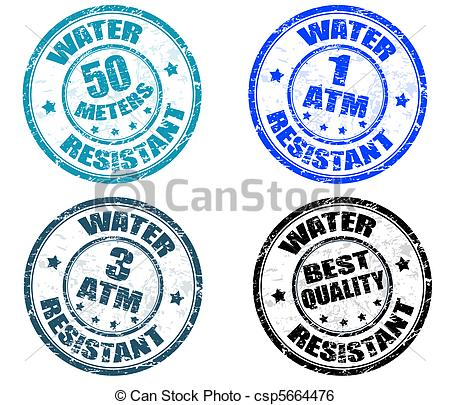 Clip Art Vector of Water resistant stamps.