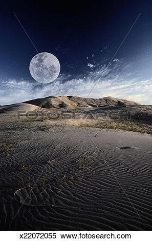 Stock Image of Full Moon at Mojave Desert x22072055.
