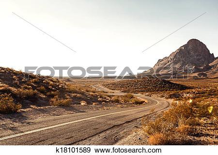 Stock Photograph of Mojave Desert Highway k18101589.