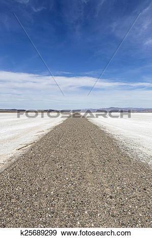 Stock Photograph of Mojave Desert Dry Lake Salt Falt Road.