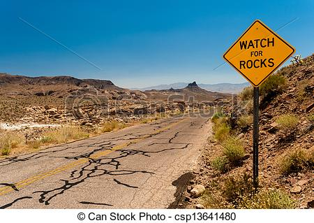 Pictures of Roadsign in the Mojave Desert.