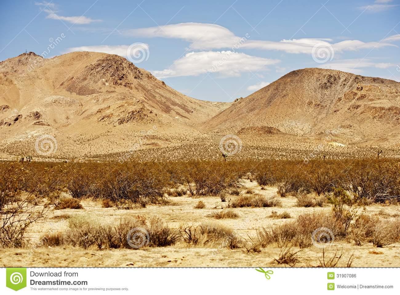 Desert Landscape (Mojave Desert) Royalty Free Stock Images.
