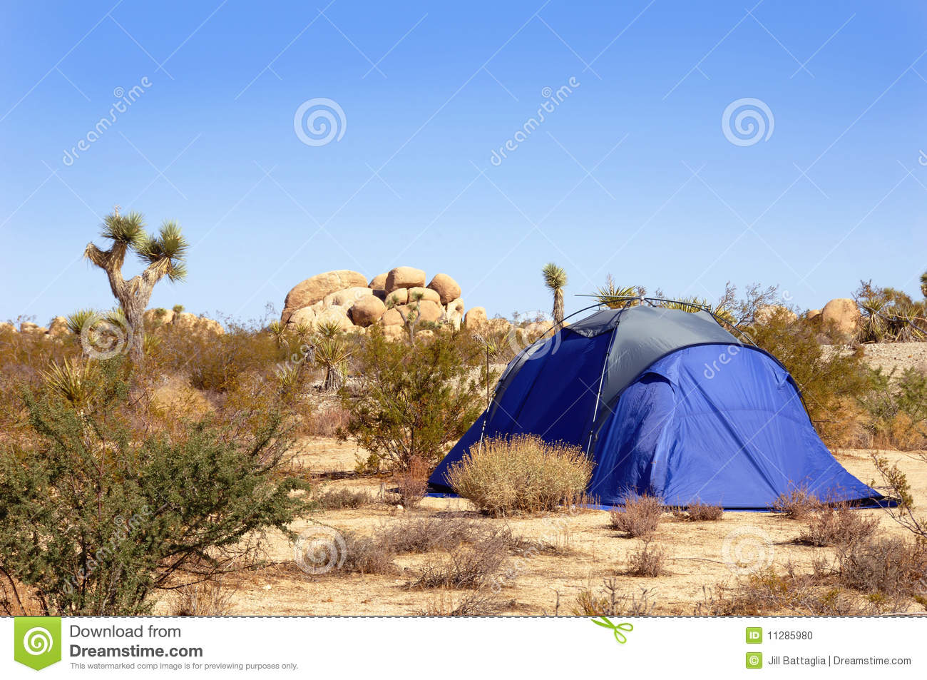 Camping Tent In The Mojave Desert Stock Photo.
