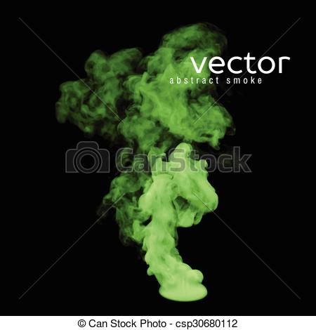 Vector Clip Art of Vector illustration of green smoke on black.