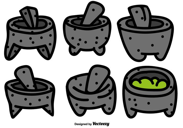 Vector Set Mexican Molcajete With Pestle Color Icons.