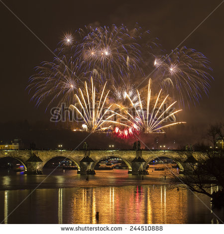 Prague New Year Stock Photos, Royalty.