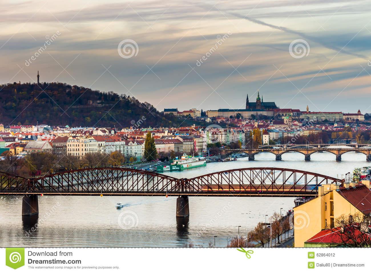 View Of The Prague Castle And Railway Bridge Over Vltava/moldau.