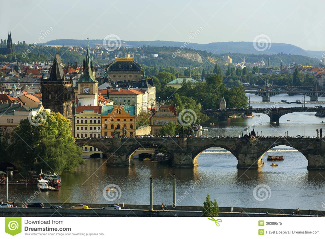 Moldau And Bridges, Charles Bridge, Panorama Of The Old Town.