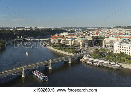 Stock Photo of Tourist boats on the Vitava River (Moldau River.