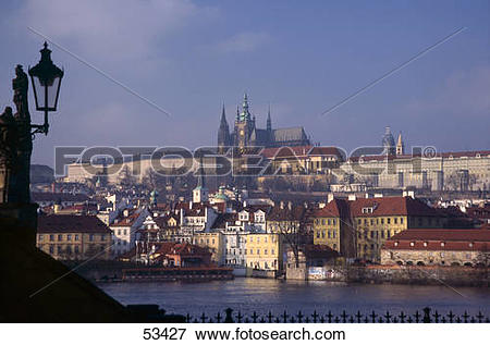 Picture of Buildings at waterfront, Hradschin, River Moldau.