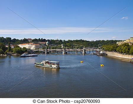 Stock Photographs of Prague, river Moldau.