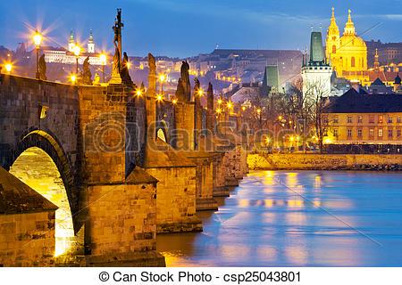 Stock Photography of Charles bridge, Moldau river, Lesser town.
