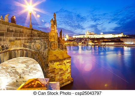 Stock Photographs of Charles bridge, Moldau river, Lesser town.