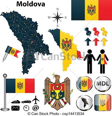 Vectors of Map of Moldova.