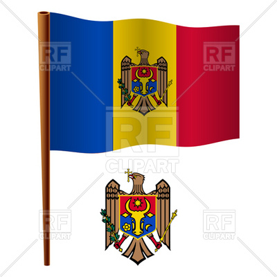Moldova flag and coat of arms Vector Image #16723.