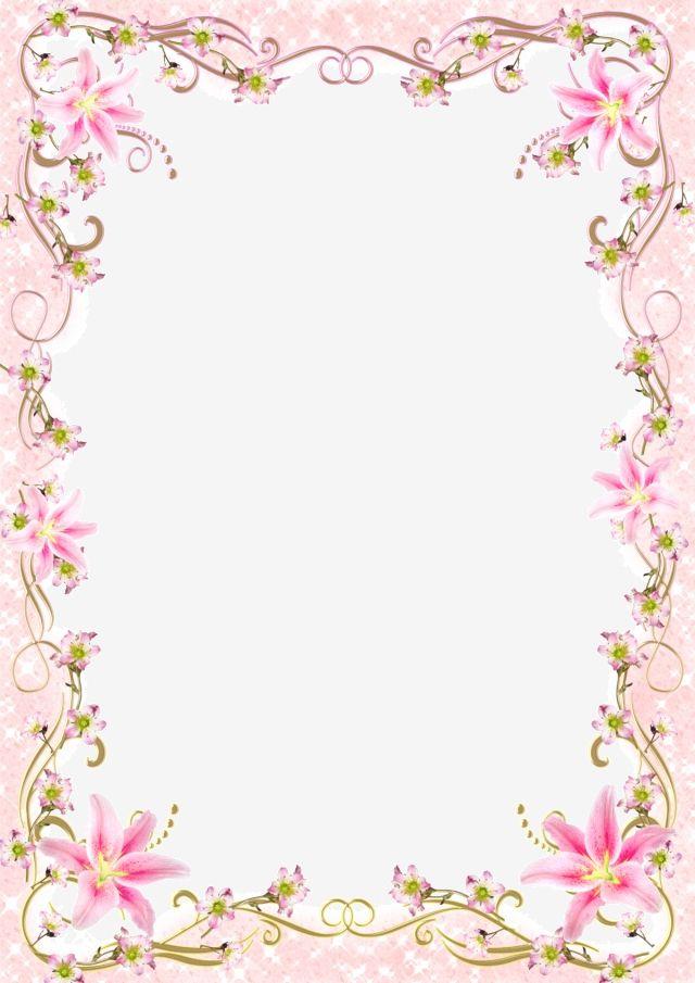 Floral Border Frame Romantic Pink Line.