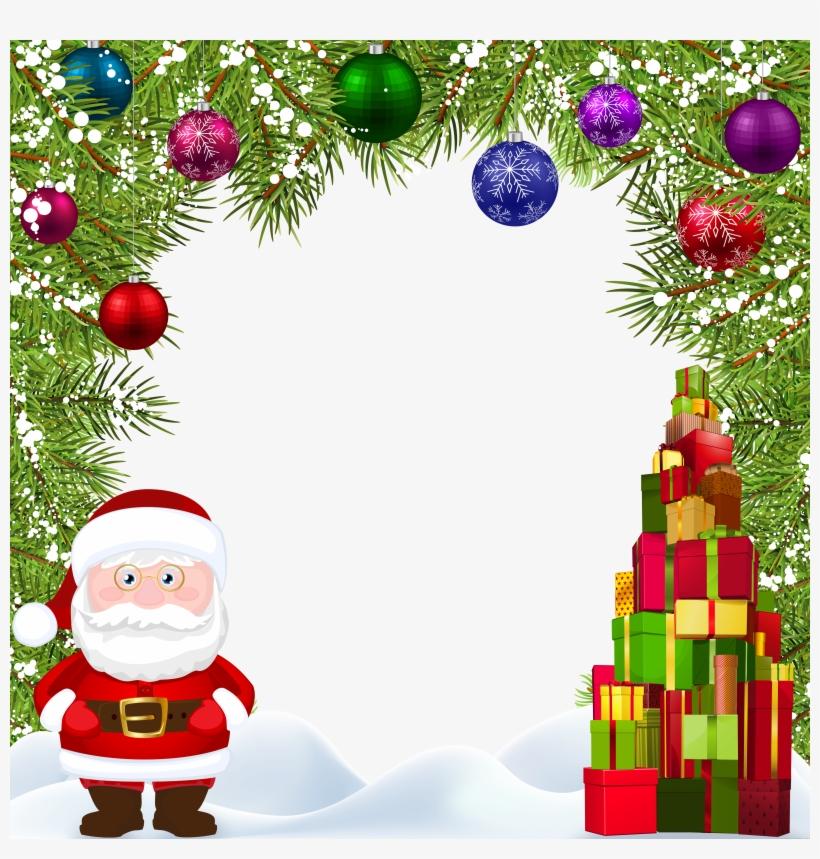 Christmas Frame With Santa Transparent Image.