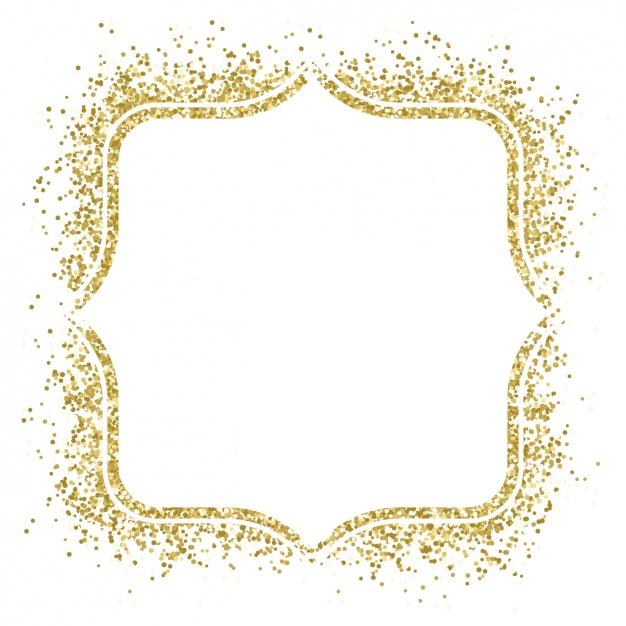 Moldura dourada agradável feito com confetti.